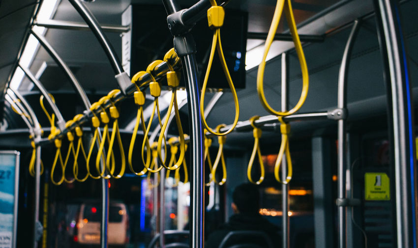Close-Up Of Handles In Bus