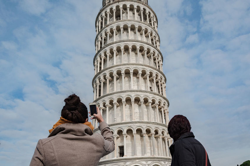 Sisters Adult Adults Only Cloud - Sky Day History Italy Italy❤️ Leaning Tower Leisure Activity Lifestyles Low Angle View Outdoors People Pisa Shooting Sky Smartphone Snapping Tourism Tourist Tourists Travel Travel Destinations Warm Clothing Young Adult