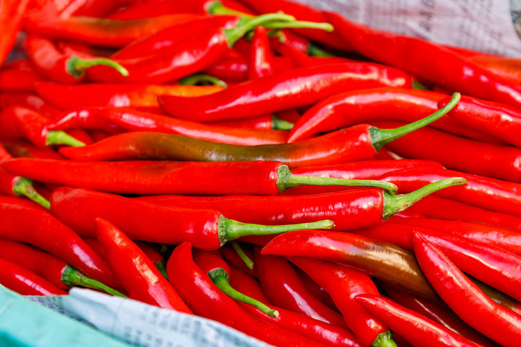 High angle view of red chili peppers for sale in market