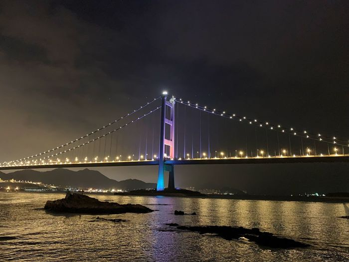 Tsing Ma Bridge, Hong Kong Night Transportation Hong Kong Tsingma Bridge Illuminated Night Water Sky Bridge - Man Made Structure Bridge Nature Travel Destinations City Outdoors No People Sea Reflection Building Exterior First Eyeem Photo