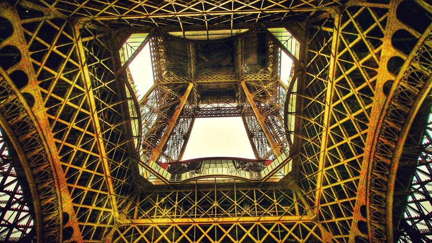 From My Point Of View From Underneath Strange Perspective Tecni.art Art And Craft Construction Site Warm Colors No People Historical Architecture Eiffel Tower Paris ❤ France 🇫🇷 My Favorite Photo 43 Golden Moments Dramatic Angles Been There.