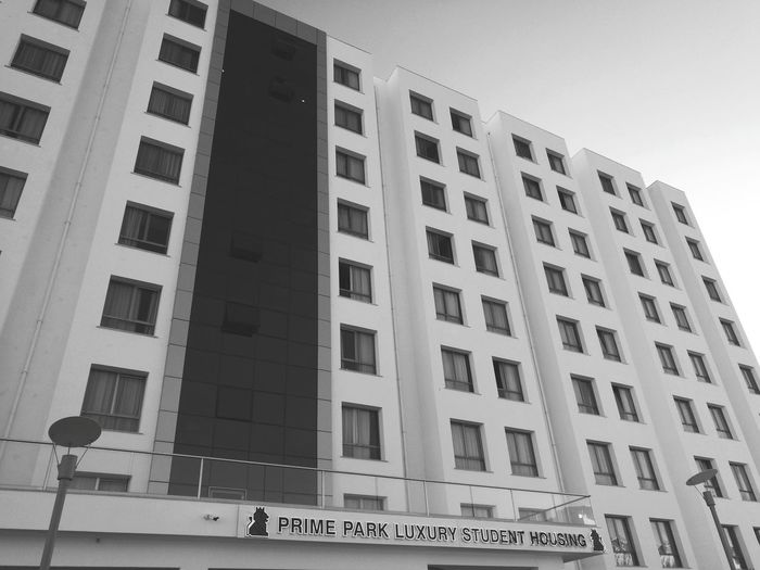 The highest building in district of lefke. Primepark Dormitory Blackandwhite Eul_Laü Text Architecture Low Angle View Building Exterior Day Outdoors No People
