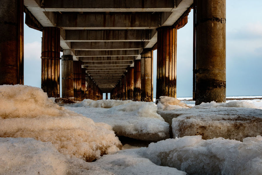 Frozen Hebei Ice Seashore Winter Architectural Column Architecture Beach Beidaihe Below Built Structure China Cold Temperature Day Nature No People Outdoors Qinhuangdao Sea Seascape Seaside Sky Snow Underneath Water