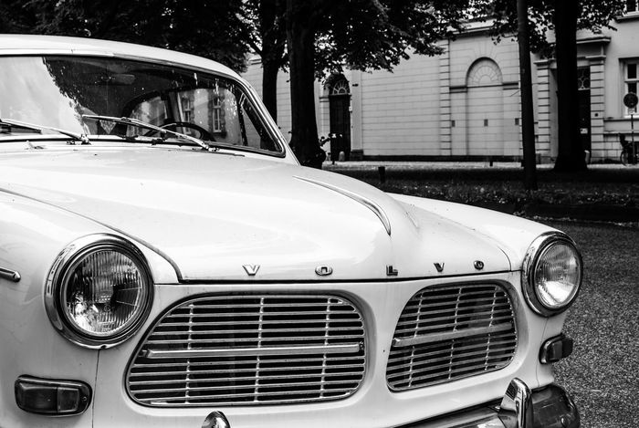 history on wheels.. Auto B&w Black And White Black And White Photography Car Classic Car EyeEm Best Shots - Black + White Front View Lights Mode Of Transport Monochrome No People Oldtimer Parked Part Of Reflection Schwarzweiß Street Streetphoto_bw Streetphotography Vintage Car Volvo Volvo Amazon Volvocars Window
