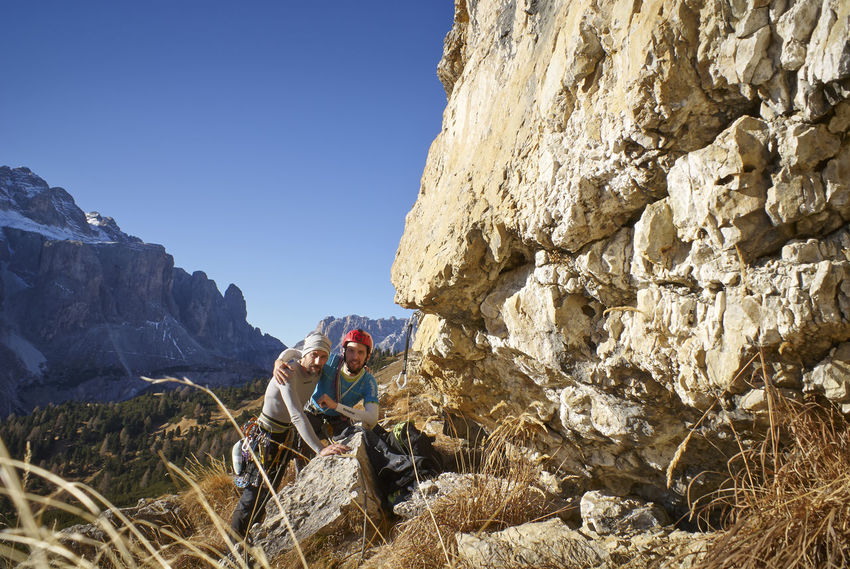 Adventure Challenge Clear Sky Climbing Dolomiti Italy Extreme Sports Friend Full Length High Up Landscape Mature Adult Men Mountain Nature Only Men Outdoors People Rock - Object Rock Climbing Skill  Sky Sport Young Adult