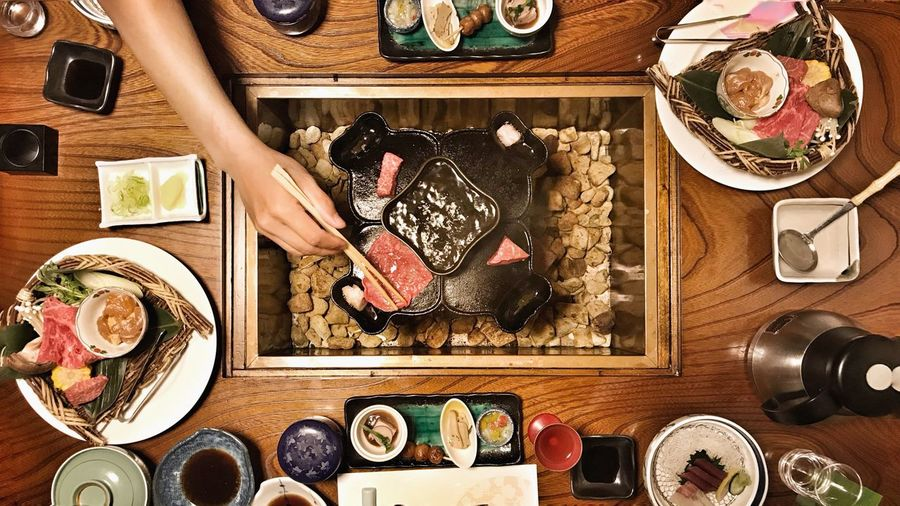 japanese dinner Tourist Happy Meal Delicious Cultural Food Ryokan Takayama Hida Beef Japanese Dinner Top View Variation Table Indoors  High Angle View Choice Directly Above Large Group Of Objects Food Ready-to-eat Close-up