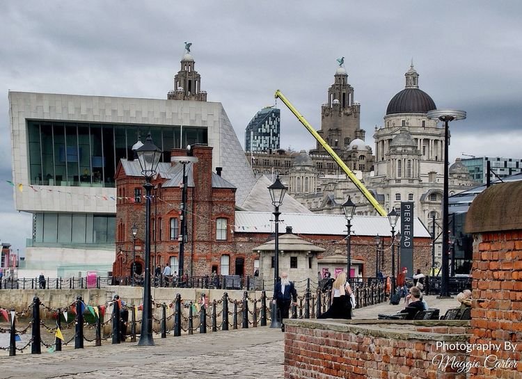 Traditional meets modern Architecture Built Structure Building Exterior Real People Cloud - Sky Men Women City Docks Pier head Outdoors Day Liverpool Albert Docks Paint The Town Yellow