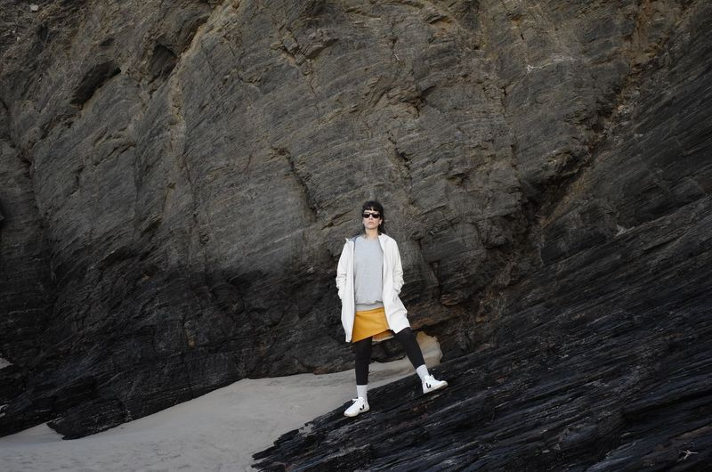 White Sneakers Fashion Fashion Photography Grey Sweater Sunset Rock Beach White Jacket Yellow Skirt Woman Portugal Full Length One Person People Portrait