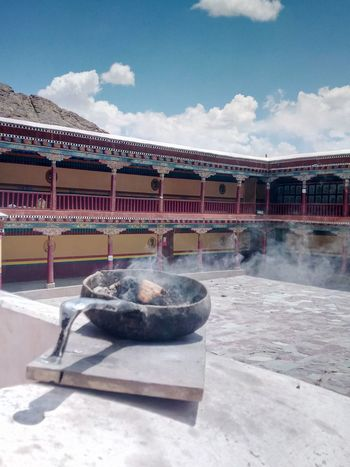 Spiritual journey Hemis Monastery Worship Holy Place Faith Prayer Peaceful Quiet Top View Old Architecture Temple Corridors  Colors Central Courtyard Smoke Incense Burner Blue Sky Ladakh- Roof Of The World Travel Photography Old Construction Family Getaway The Architect - 2018 EyeEm Awards The Great Outdoors - 2018 EyeEm Awards The Traveler - 2018 EyeEm Awards