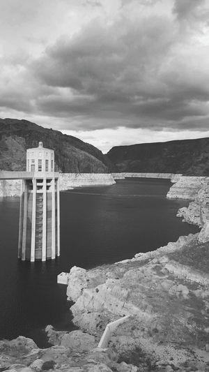 Lowering tide Eye For Photography EyeEm Gallery EyeEm Best Shots - Black + White Blackandwhite Hoover Dam Global Warming Water Mountain Lake Day No People Outdoors Nature Sky