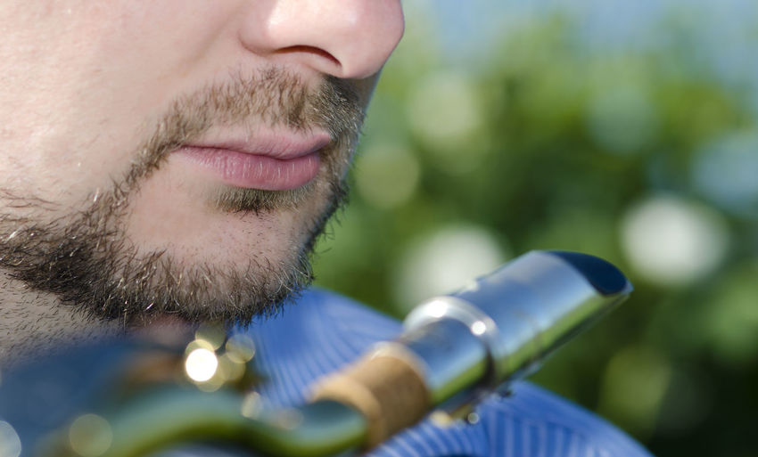 Close-Up Of Man With Saxophone