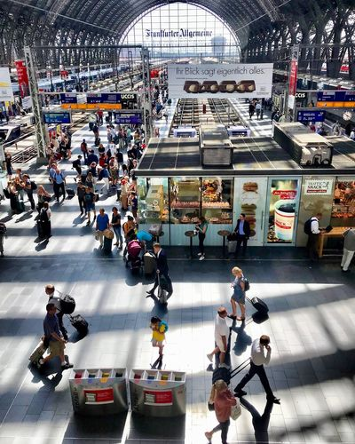 Frankfurt Am Main Hauptbahnhof Train Station Real People Group Of People Large Group Of People Crowd High Angle View Architecture Men Mode Of Transportation Transportation City Walking Built Structure Lifestyles Day Travel
