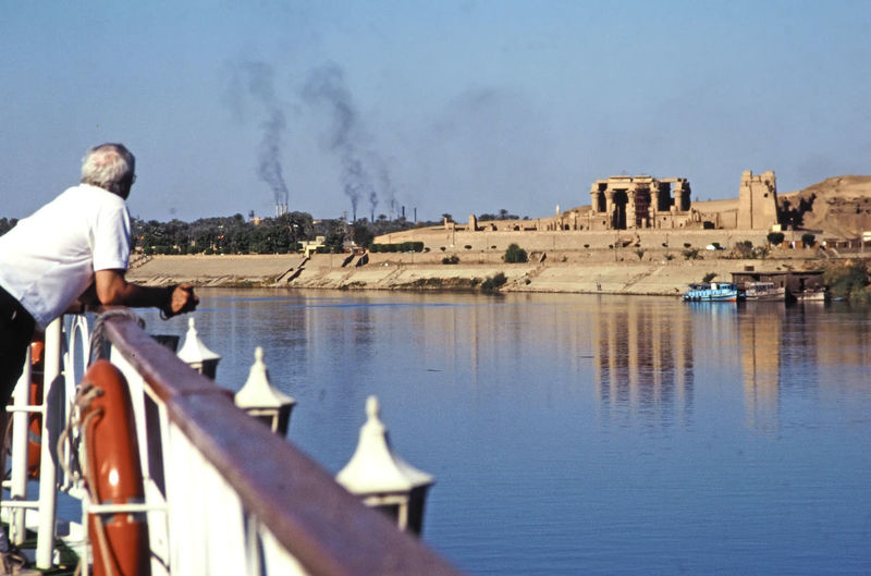 Aboard a Nile cruise ship approaching the Temple of Kom Ombo, near Luxor, Egypt Architecture Day Outdoors Luxor,Egypt Built Structure Nile Cruise Ship Kom Ombo Temple A Taste Of Egypt Industrial Smoke Sober The Crocodile God Colour Your Horizn This Is Aging