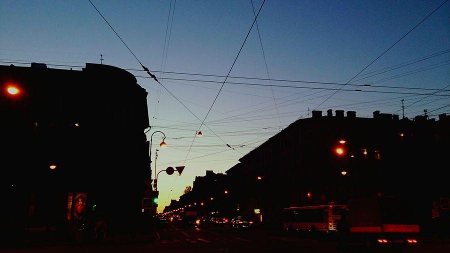 Railroad tracks at dusk