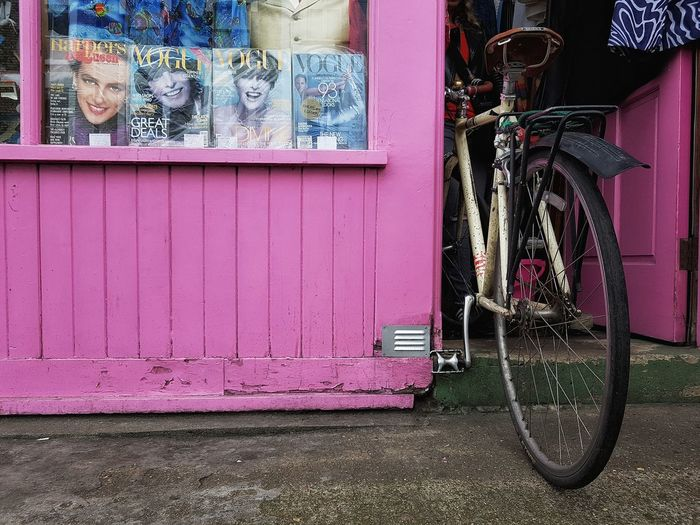 Bike in vogue Bycicle Shop Shop Window Vintage Shop Shop Front Store Front Magazine Cover Magazine Vogue Vintage Vogue Pink Pink Color Street Photography Parked Bycicle