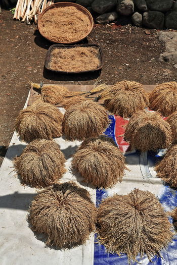 High angle view of hay for sale in market