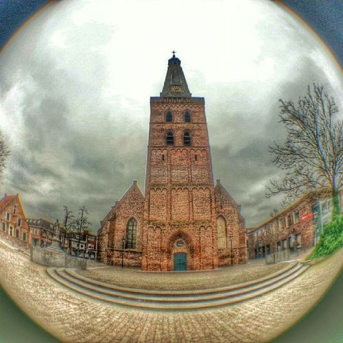 The Old Church of Barneveld caught through my new mobile phone fish eye lens