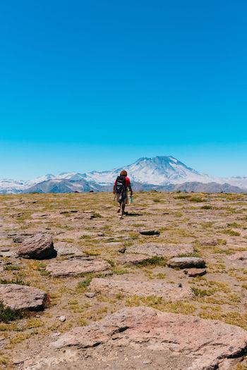 Rear view of male hiker walking on mountain against clear blue sky