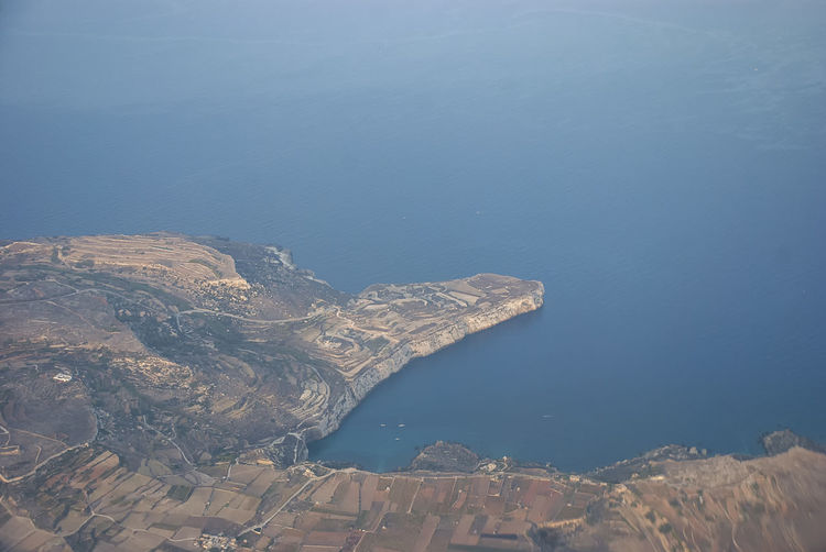 The landscape and coastline of malta from the air