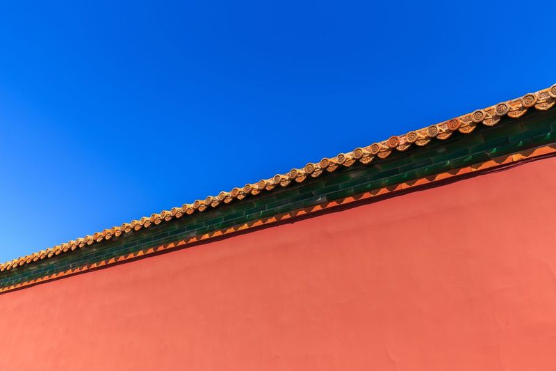 EyeEm Selects Clear Sky Copy Space Sky Blue No People Low Angle View Day Nature Architecture Built Structure Roof Outdoors Pattern Building Exterior Metal Textured  Close-up Brown Sunlight Green Color
