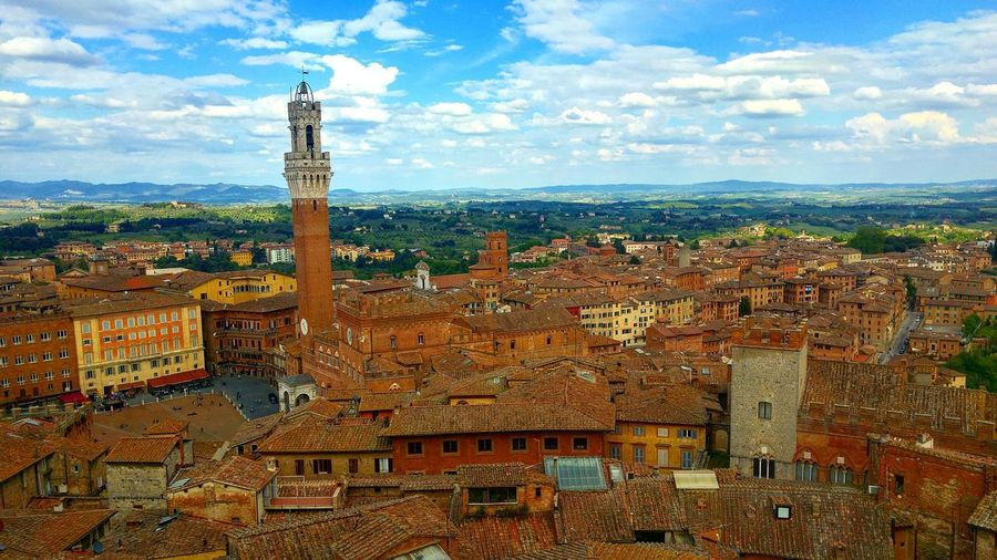 Cityscape Cloud - Sky Sky Outdoors Architecture City Travel Destinations No People Day Building Exterior Siena Siena, Italy Italy Italia Tuscany Toscana Cloudscape Skyline Siena's Tower Tower Piazza Del Campo