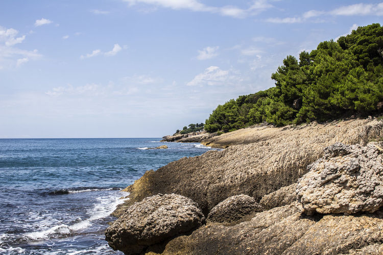 Water Beauty In Nature Nature Outdoors Sea Sky Beach Rock - Object Horizon Plant Day Solid Rock Land