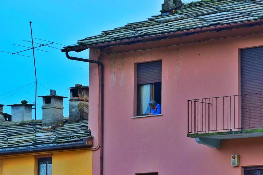 Business Finance And Industry Window Building Exterior Architecture Built Structure House Outdoors Façade No People Day Blue Pastel Colored Roof Sky Close-up Golf Club Old Woman Northern Italy Italy Colors Solid Colors The Architect - 2017 EyeEm Awards