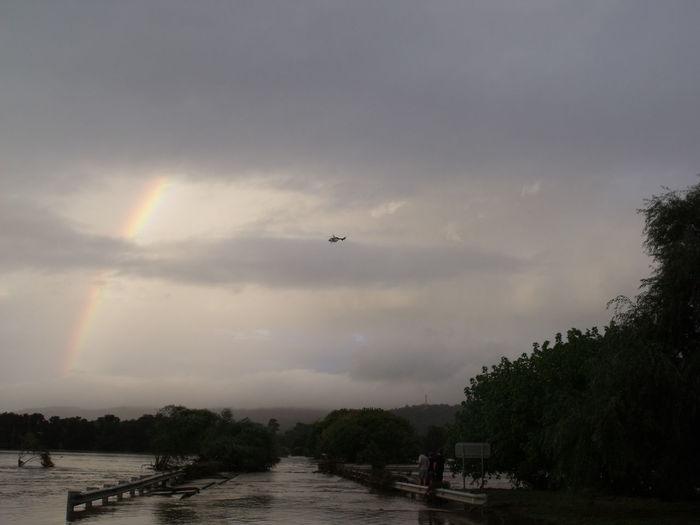 Flooding Nature Taraganda straight under Water Rescuehelicopter Under The Rainbow. 2011 Bega Valley floods.