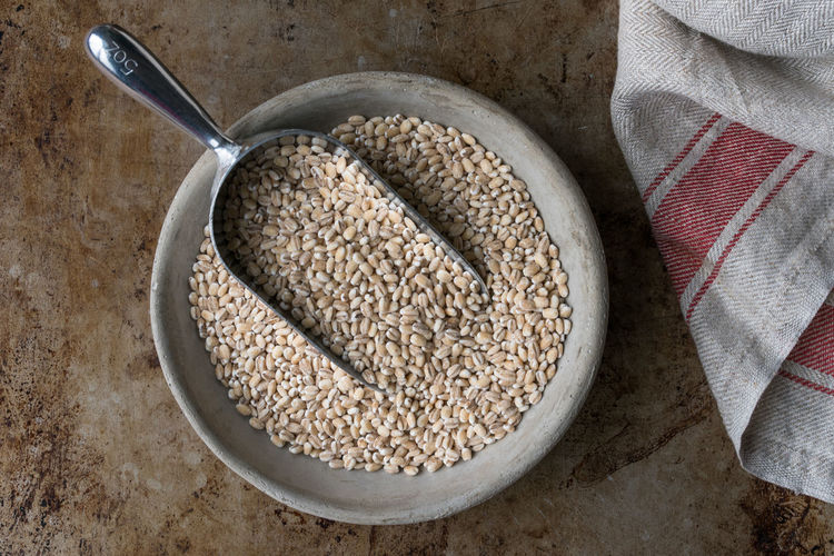 A bowl of barley Food Food And Drink Bowl No People Ingredient Close-up Barley Grain Macro Nobody Isolated High Angle View Scoop
