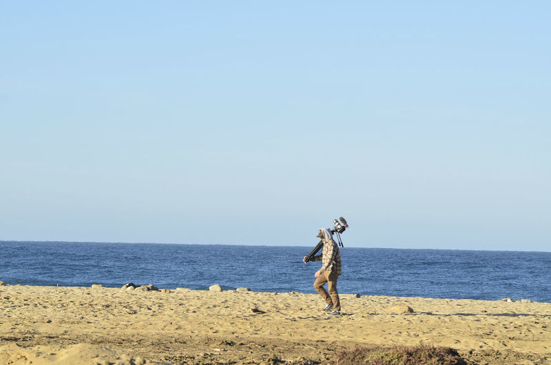 Young man carries video camera on tripod over hwalking on ocean beach in baja california sur, mexico