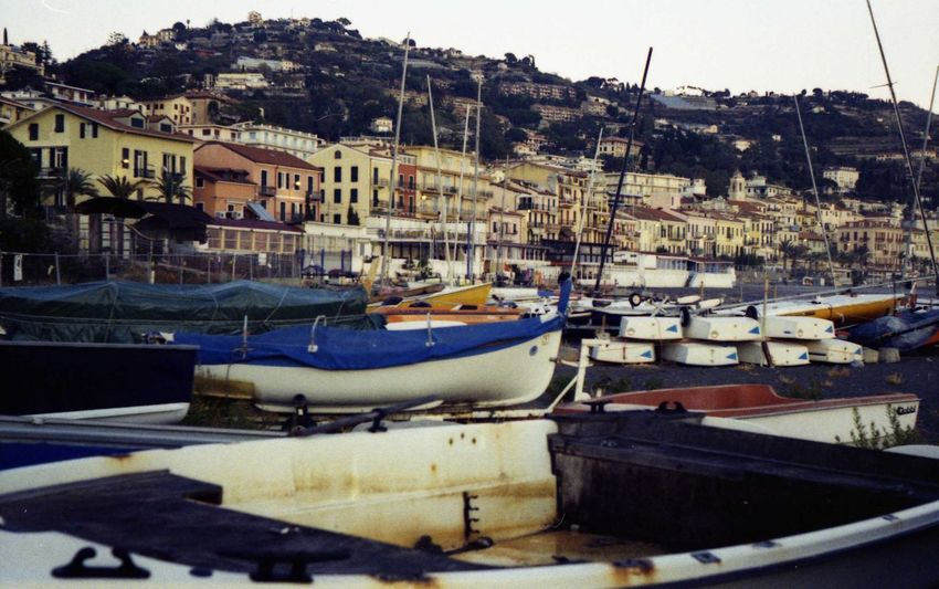 Costa Liguria,Italy Ospedaletti Barche Boats Coast Film Photography No People