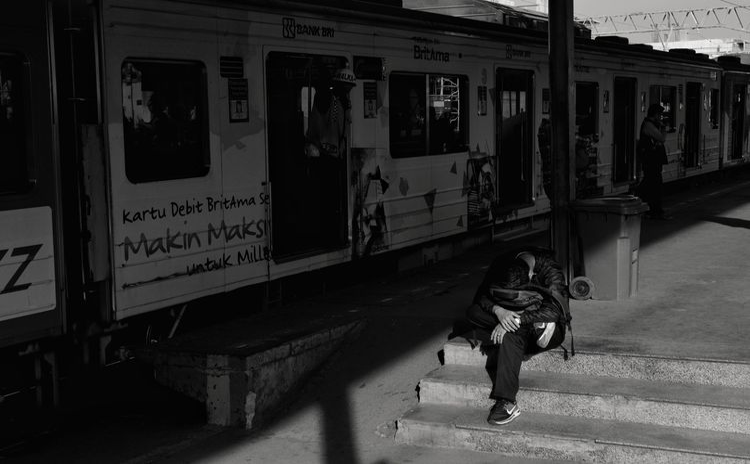 January, Jakarta 2018 Streetphotography Documentaryphotography Train Train Station Station Commute Blackandwhite Blackandwhite Depression - Sadness Stressed Stress The Photojournalist - 2018 EyeEm Awards The Street Photographer - 2018 EyeEm Awards