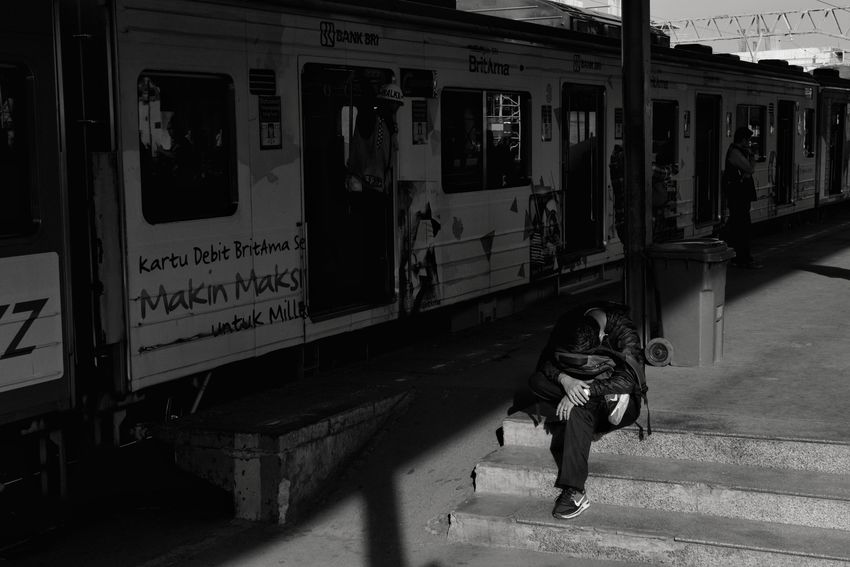 January, Jakarta 2018 Streetphotography Documentaryphotography Train Train Station Station Commute Blackandwhite Blackandwhite Depression - Sadness Stressed Stress