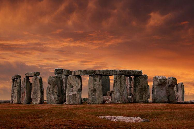 Scenic view of stonehenge