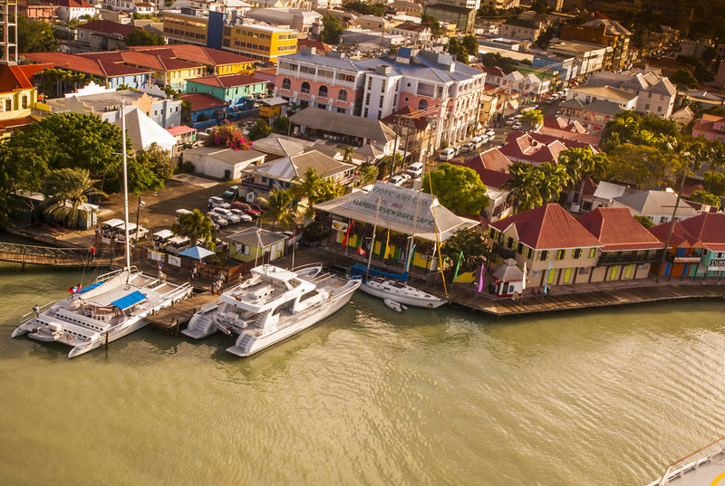Harbour and Downtown St Johns Antigua Antigua And Barbuda Aerial View Architecture Building Exterior Built Structure City Cruiseship Day Downtown Chicago Harbour High Angle View No People Outdoors Residential District Sea Shopping Tourism Transportation Waterfront Waterfrontview