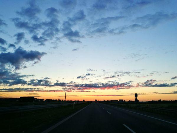 Sunrise Road Landscape Sky Cloud Orange Color Outdoors Cloud - Sky Ontheroad. Sun_collection Sunny Day 4am Photos