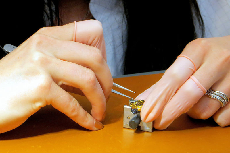 Attention To Detail Clockwork Concisely Female Worker Human Finger Human Hand Miniature Minute Hand Precision Swiss Swiss Watch Tweezers Watchmaker Wedding Ring Woman Making A Watc Woman Repairing A Watc