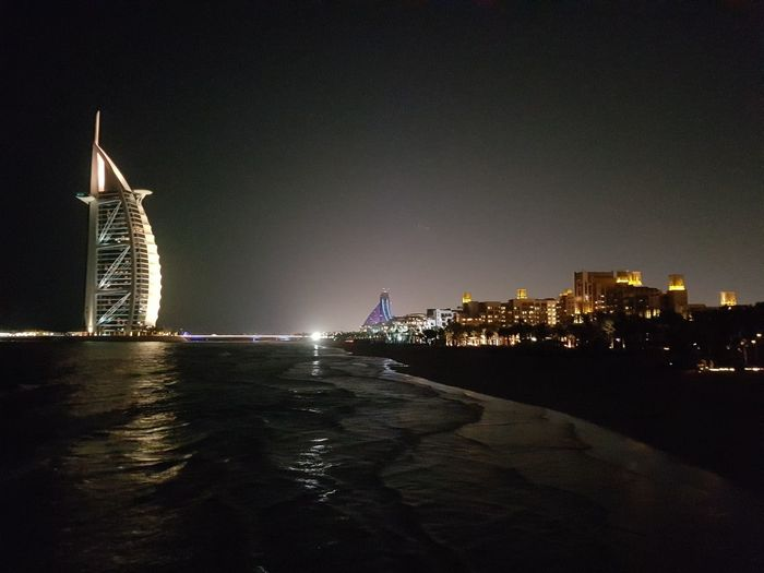 Dubai No People Burj Al Arab Burj Night Cityscape Water Outdoors Travel Destinations Horizontal City eMirates City Horizontal Cityscape Architecture Travel Destinations Night Bridge - Man Made Structure Water No People Sky Outdoors First Eyeem Photo