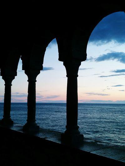Italie Italie Mer Portovenere Coucher Soleil Soir
