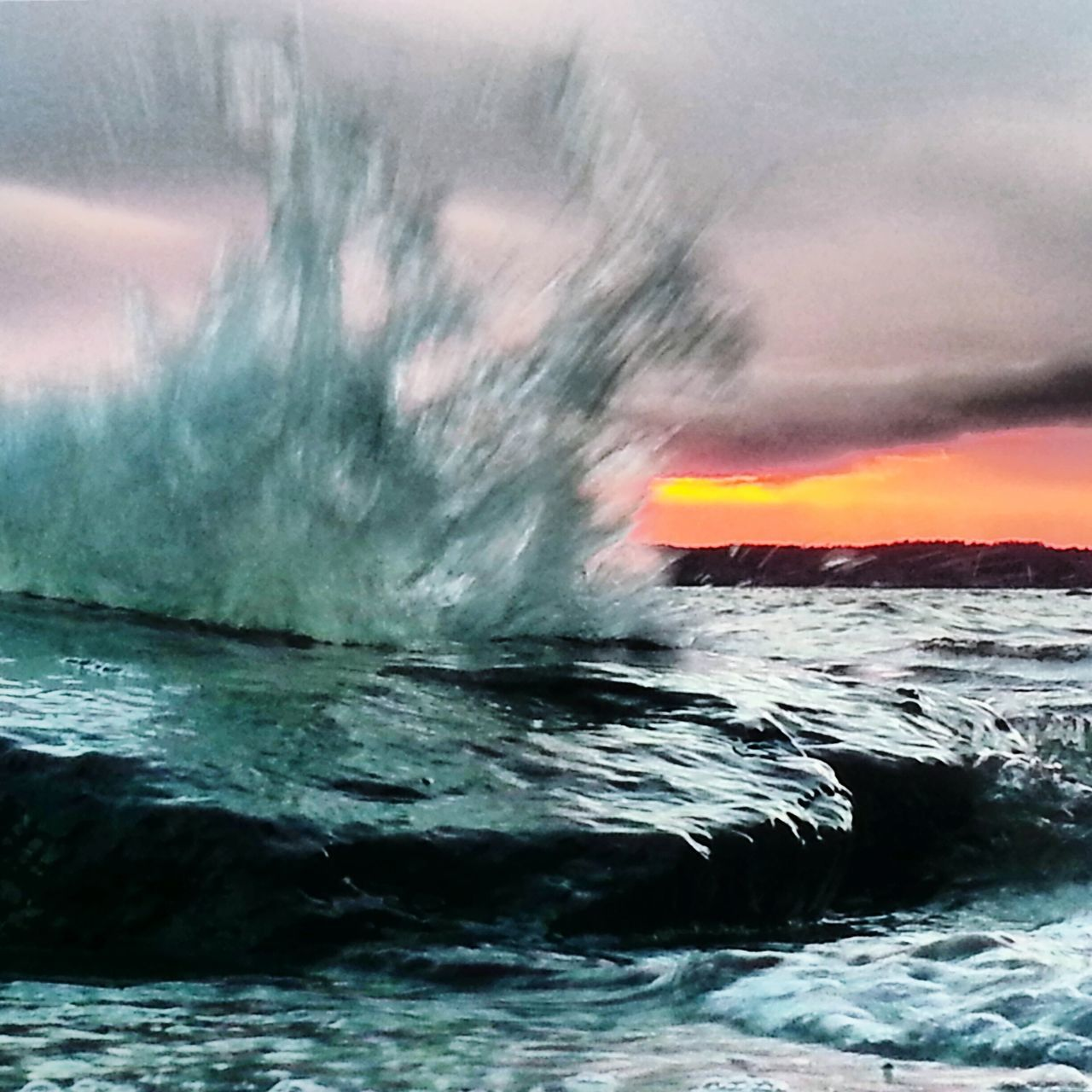 power in nature, sea, beauty in nature, sunset, nature, water, wave, no people, motion, sky, scenics, waterfront, outdoors, day, force
