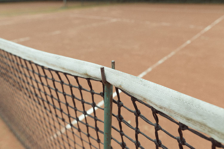 High angle view of net at playing field