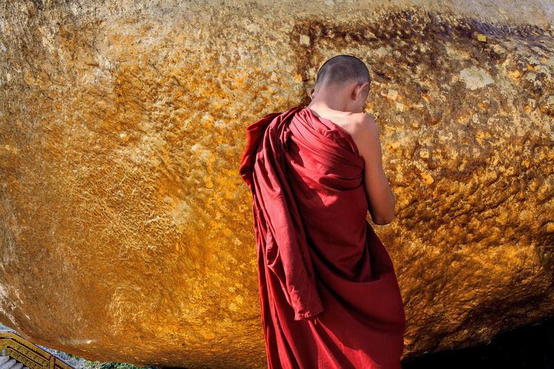 43 Golden Moments Famous Place Focus On Foreground Golden Golden Rock Golden Rock Pagoda Lifestyles Pilgrimage Travel Destinations Travel Photography Unrecognizable Person People And Places