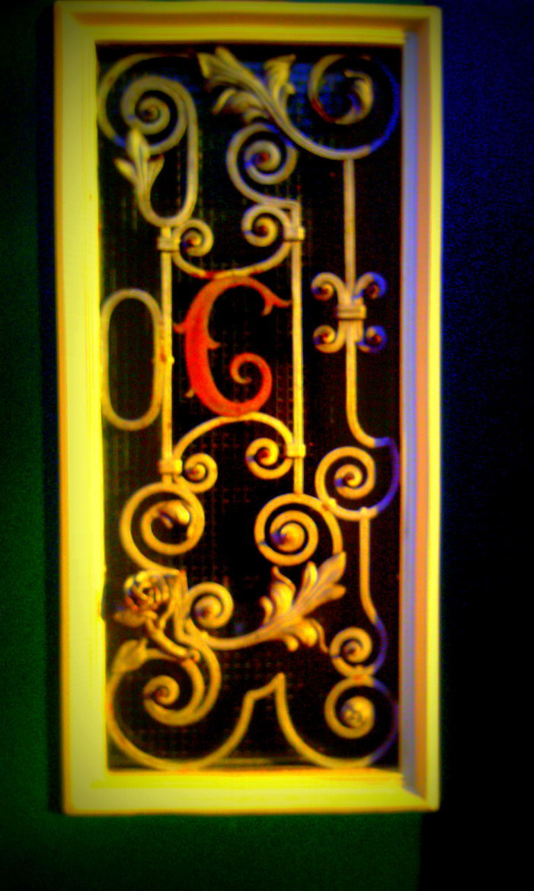 gold colored, no people, gold, multi colored, neon, night, close-up, architecture, black background, outdoors