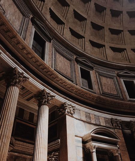 Rome Built Structure Architecture Low Angle View Building Exterior No People Building Pattern Travel Destinations History Full Frame Architectural Column The Past Day Tourism Belief Place Of Worship Outdoors Travel City Ceiling