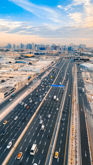 High angle view of traffic on road in dubai city