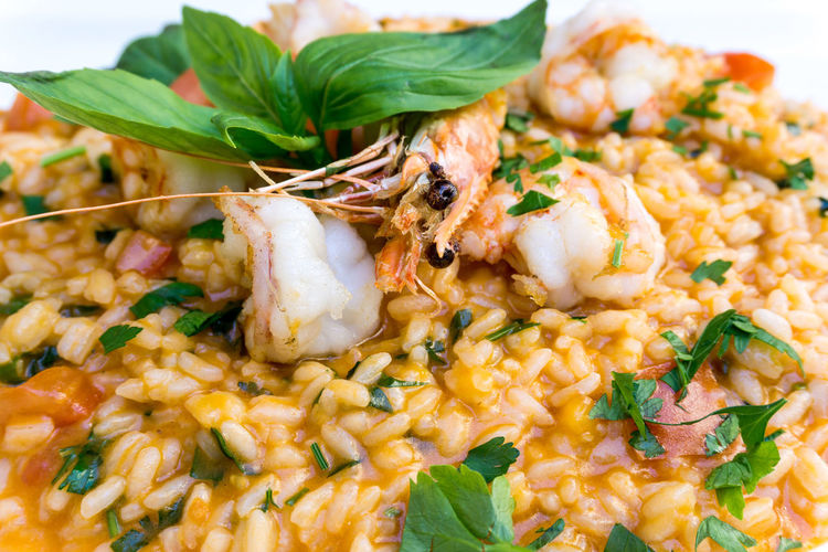 Close-up of prawns risotto