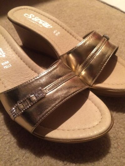 Domino Shoes Gold Sandals Heels Wood Fancy Sparkly Formal Shiny