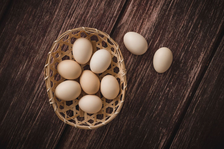 Basket Brown Close-up Day Directly Above Easter Egg Food Fragility Fresh Fresh Products Freshness Healthy Eating High Angle View Indoors  No People Raw Food Table Wood - Material