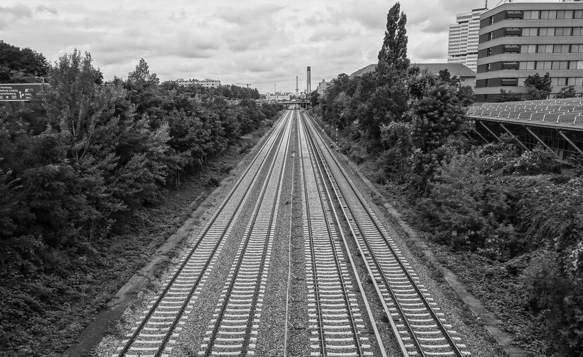City Life Cloud Cloud - Sky Diminishing Perspective Funkturm Gleise Landscape No People Railroad Track Railway Track S-bahn Schienen Sky Skyline The Way Forward Tranquility Tree Vanishing Point Wilmersdorf