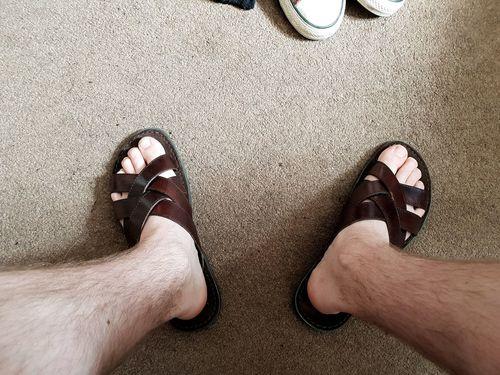 Summer Summertime Sandal Sandals EyeEm Selects Low Section Human Leg Men FootPrint High Angle View Standing Human Feet Foot Feet Human Daylight Free Time Slipper  Flip-flop